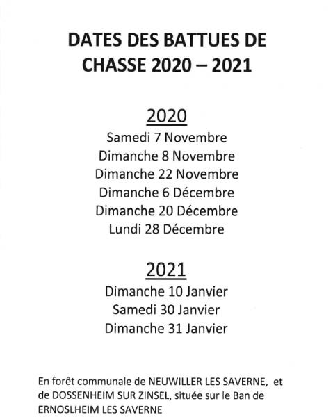 Dates battues de chasses 2020-2021