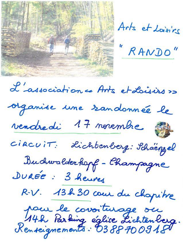 Rando arts et loisirs11 2017